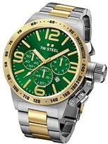 TW Steel Canteen Unisex Quartz Watch with Green Dial Chronograph Display and Grey Stainless Steel Gold Plated Bracelet CB63