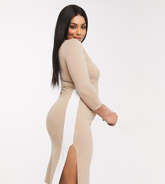 Puma Plus Midi Dress with Side Split in tan exclusive to ASOS
