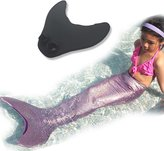 Univegrow Girls Mermaid Tails Monofin Swimmable Mermaid Tails for Kids 6-14
