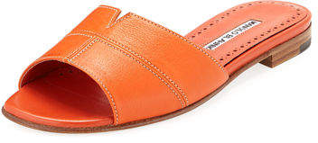 Manolo Blahnik Lasatte Notched Flat Leather Slide Sandal