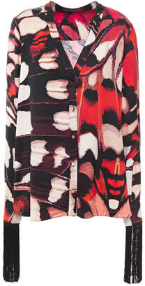 Alexander McQueen Tassel-trimmed Printed Silk-satin Shirt