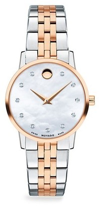 Movado Mother-of-Pearl, Rose-Goldplated, Stainless Steel Diamond-Trim Bracelet Watch