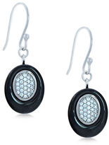 Lord & Taylor Ceramic Gem Faux Diamond and Black Ceramic Oval Drop Earrings