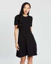 Dorothy Perkins Tuck Sleeve Fit and Flare Dress