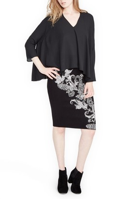 Rachel Roy Paisley Pencil Skirt
