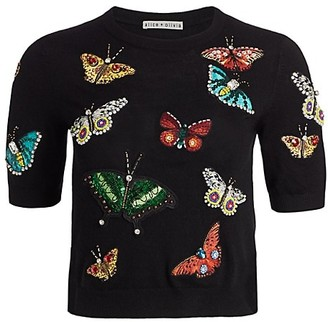 Alice + Olivia Ciara Butterfly Embroidered Sweater