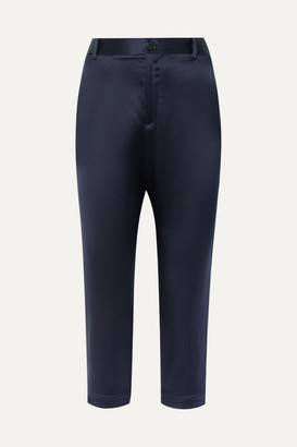 Nili Lotan Paris Cropped Silk-charmeuse Skinny Pants - Midnight blue