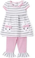 Nannette Gray Stripe Bunnies Tunic & Leggings - Infant Toddler & Girls