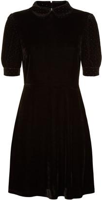 Traffic People Peter Pan Collar Velvet Grace Dress In Black