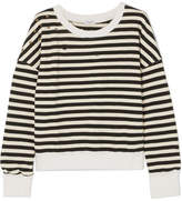 Splendid West Village Embellished Distressed Striped Cotton-blend Jersey Sweatshirt - Black