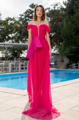 Cristallini Off the Shoulder Silk Chiffon Evening Gown