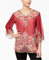 JM Collection Printed Woven Lace-Up Top