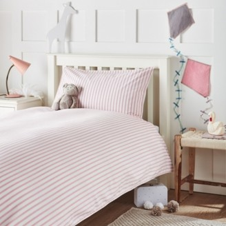 The White Company Dotty Stripe Bed Linen Set, White/Pink, Cot Bed