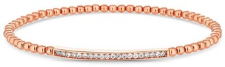 Simply Silver 14ct Rose Gold Plated Sterling Silver Cubic Zirconia Bar Beaded Stetch Bracelet