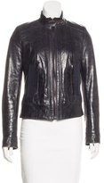 Dolce & Gabbana Leather Grosgrain-Trimmed Jacket