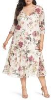 Komarov Plus Size Women's Floral Charmeuse & Chiffon A-Line Dress