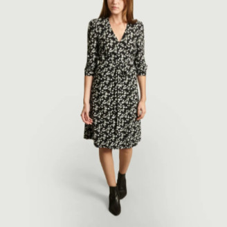 Jolie Jolie - Black Viscose Olivia Print Wallet Dress - black | viscose | xs - Black/Black