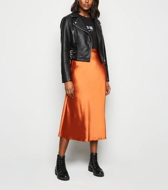 New Look Bias Cut Satin Midi Skirt