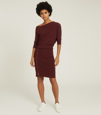 Reiss CECILIA OFF-THE-SHOULDER ZIP DETAIL DRESS Berry