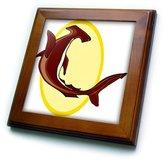 3dRose LLC ft_1143_1 Sharks - Hammerhead Shark - Framed Tiles