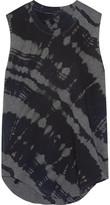 Raquel Allegra Tie-dyed Cotton-blend Jersey Tank - Black
