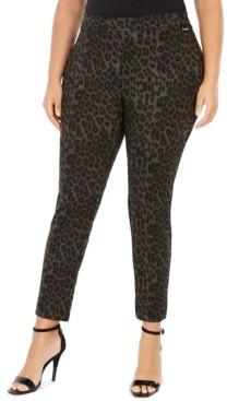 Calvin Klein Plus Size Leopard-Print Leggings