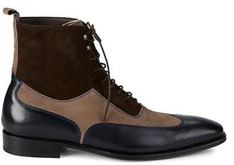 Mezlan 18769 Leather Suede Wingtip Boots