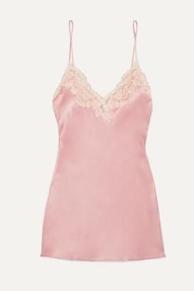 La Perla Maison Embroidered Lace-trimmed Silk-blend Satin Chemise - Pink