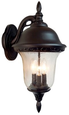 Glenn Special Lite Products Aire 3-Light Outdoor Wall lantern Special Lite Products Finish: Black, Shade Type: Alabaster