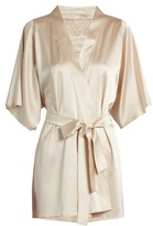 Fleur of England Golden Hour lace-insert silk-blend robe