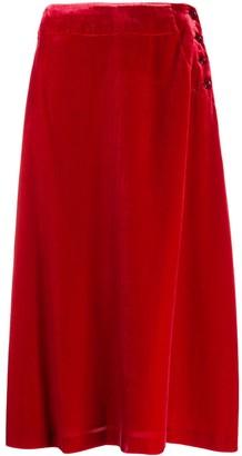 Aspesi Side-Button Velvet Midi Skirt