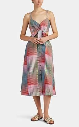 Saloni Women's Geometric Cotton Poplin Cutout Dress - Turquoise