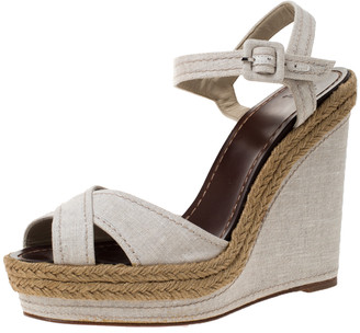 Christian Louboutin Cream Canvas Almeria Cross Strap Espadrille Wedge Sandals Size 40