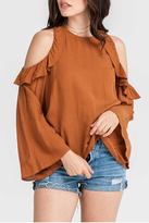 Lush Clothing Rust Ruffle Top