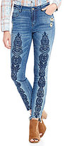 Tru Luxe Jeans Embroidered Skinny Ankle Jeans