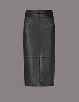 Autograph Leather Pencil Midi Skirt