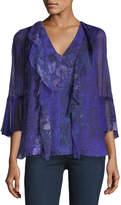 Elie Tahari Adalyn 3/4-Sleeve Floral Blouse