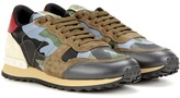 Valentino Rockrunner Printed Leather And Suede Sneakers