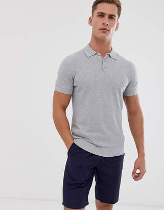 Selected knitted polo in waffle texture organic cotton-Gray