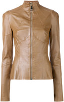 Talbot Runhof fitted leather jacket - women - Silk/Cotton/Lamb Skin/Viscose - 36