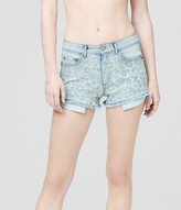 High-Waisted Embroidered Floral Light Wash Denim Shorty Shorts