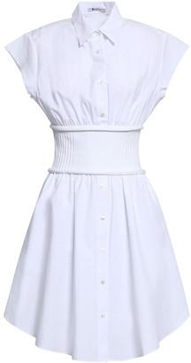 Alexander Wang Gathered Cotton-poplin And Ribbed-knit Shirt Dress