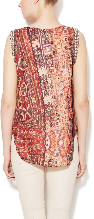 Haute Hippie Silk Print Embellished Muscle Tank