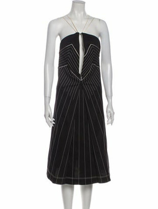 Valentino Striped Midi Length Dress w/ Tags Black