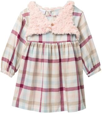 Iris & Ivy Plaid Twill Dress & Faux Fur Vest Set (Little Girls)