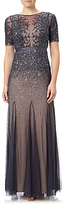 Adrianna Papell Fully Beaded Gown, Gunmetal