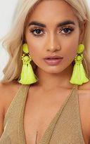 PrettyLittleThing Yellow Acrylic Bead Tassel Earring