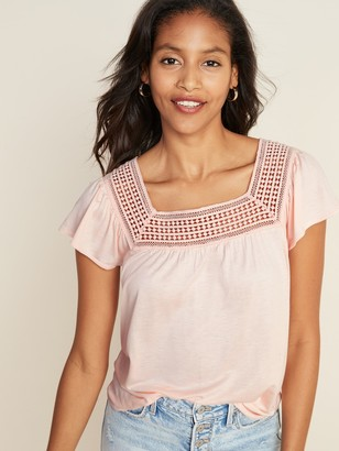 Old Navy Square-Neck Lace-Trim Top for Women