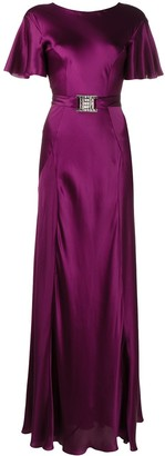 Alberta Ferretti Crystal-Buckle Long Silk Dress