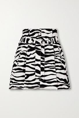 ATTICO Belted Frayed Zebra-print Denim Mini Skirt - White